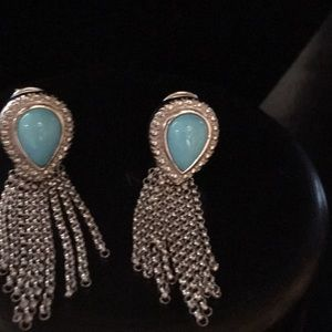 TURQUOISE STERLING SILVER EARRINGS NWOT NEVER WORN